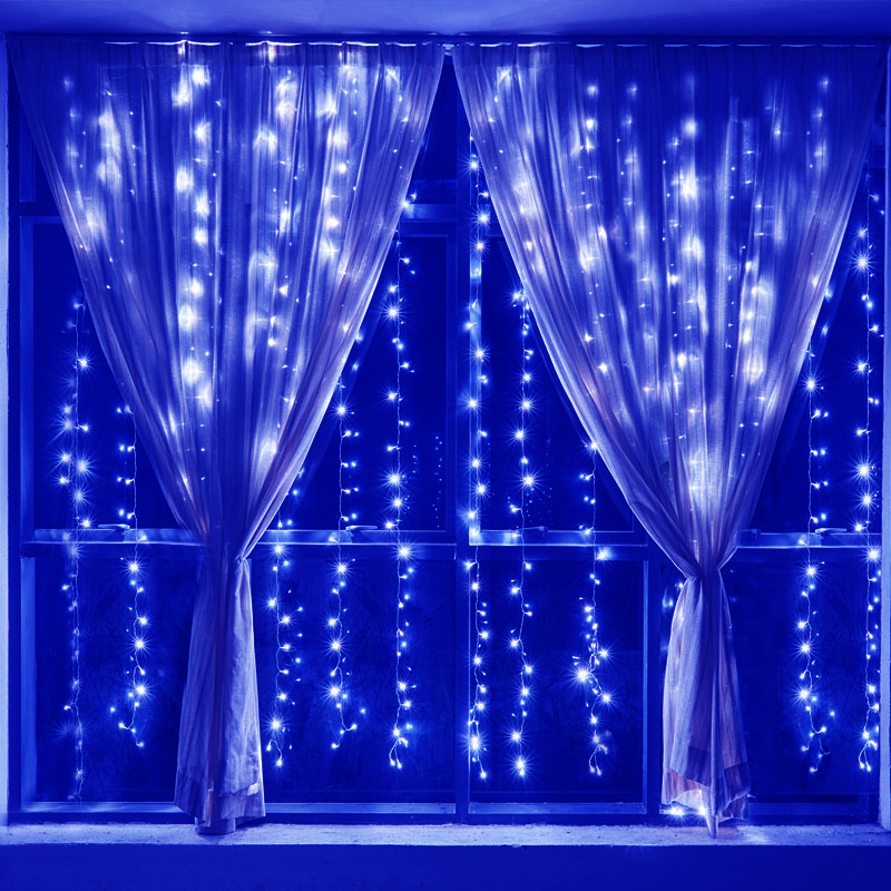 300 led connectable icicle curtain rain waterfall. Black Bedroom Furniture Sets. Home Design Ideas