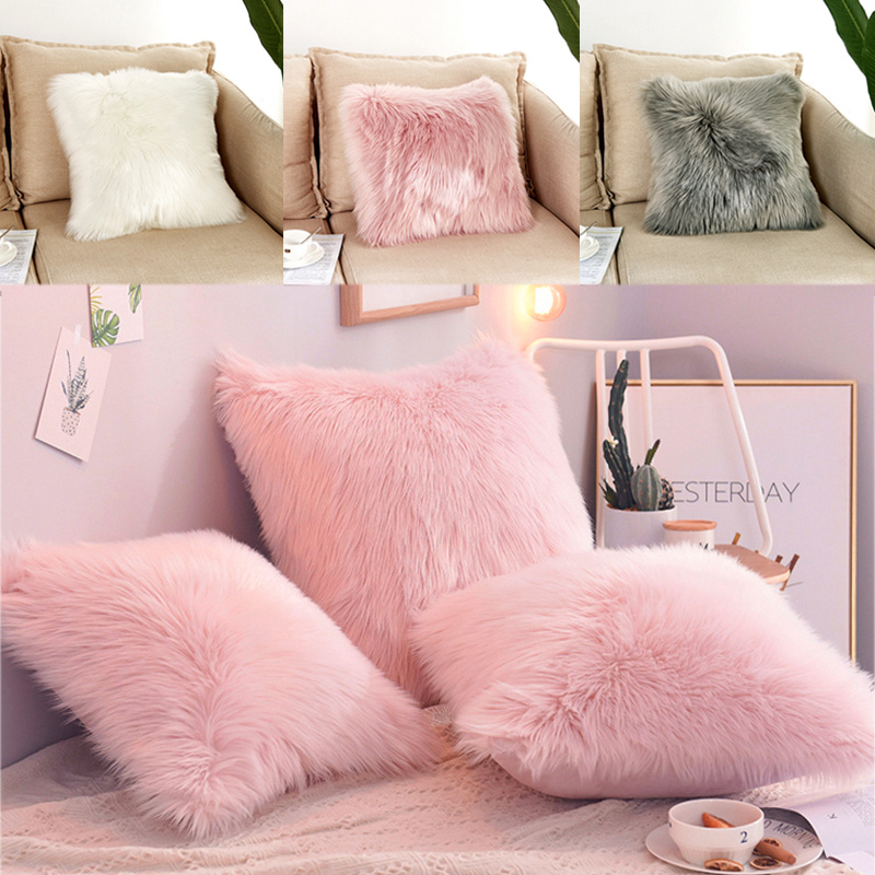 Details About Fluffy Plush Cushion Covers Sofa Pillow Case Single Double Sided 18x18 20x20