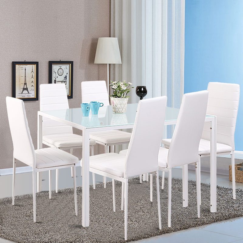 bd9eae4b83 Details about White Tempered Glass Dining Table Set and with 4/6 Faux  Leather Chairs Kitchen