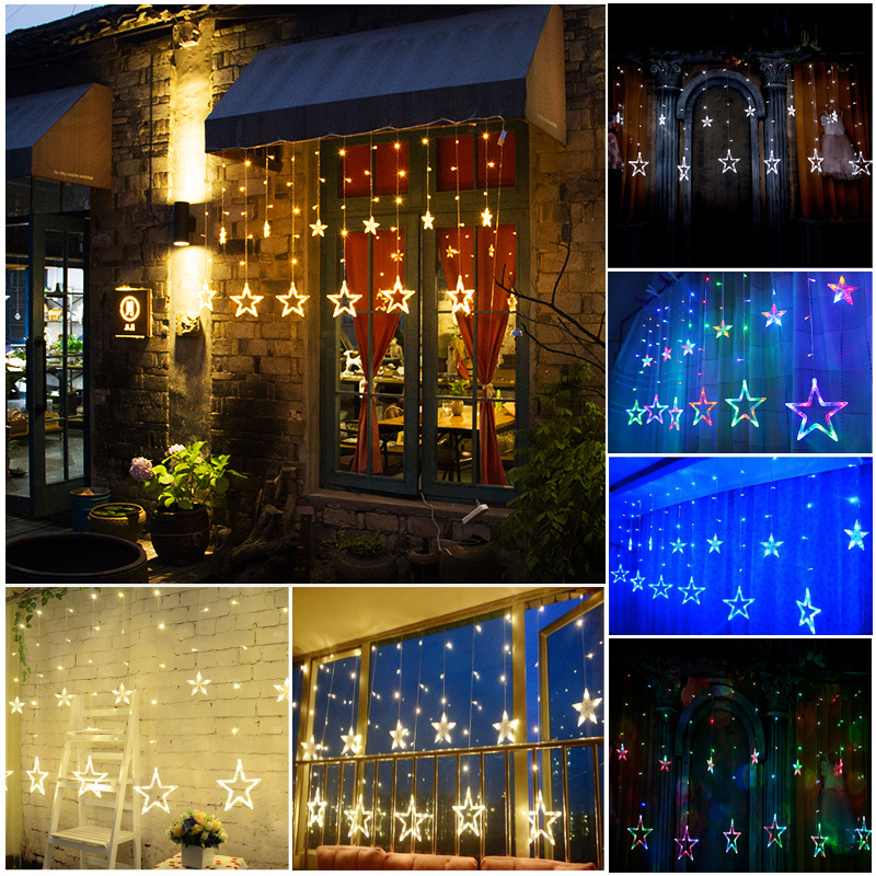 White 168LED Acrylic Star Pendant Fairy String Light Curtain Window Bedroom Door eBay