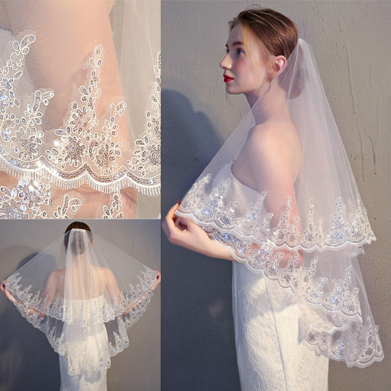 2 Tier Bridal Veil Beautiful Ivory Cathedral Short Wedding Veils Lace Edge With Comb Bride Veils
