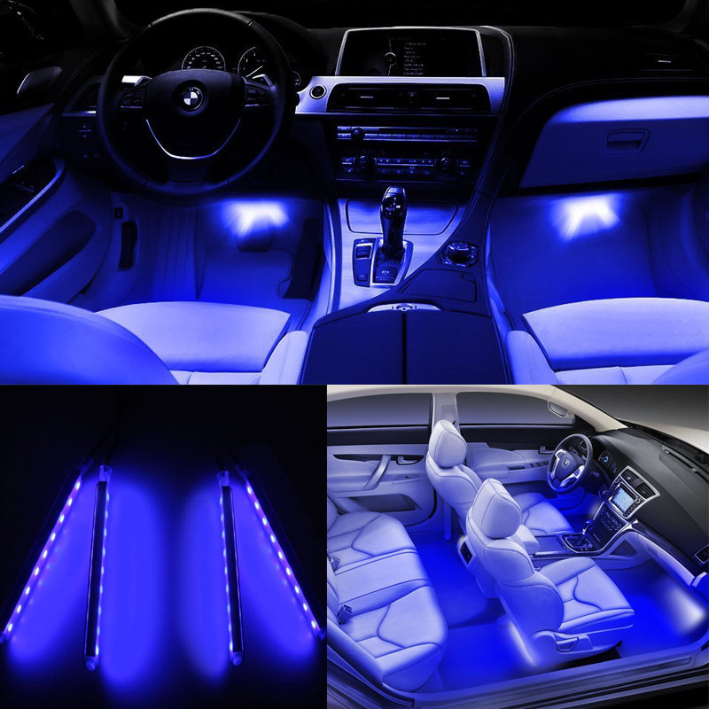 4x 12v 7 colors changing rgb car interior led strip lights foot decorative lamp. Black Bedroom Furniture Sets. Home Design Ideas