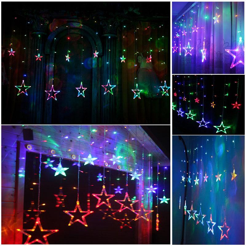 String Lights For Bedroom Window : White 168LED Acrylic Star Pendant Fairy String Light Curtain Window Bedroom Door eBay