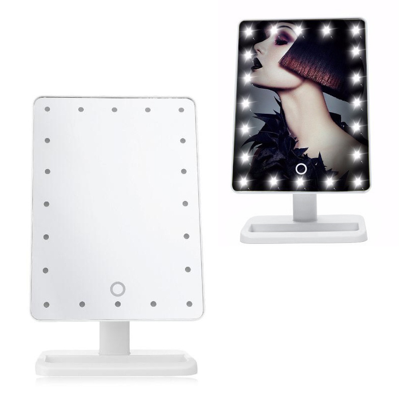 Free Standing Lighted Modern Make Up Cosmetic Dimmable Vanity Mirror Touch Sw