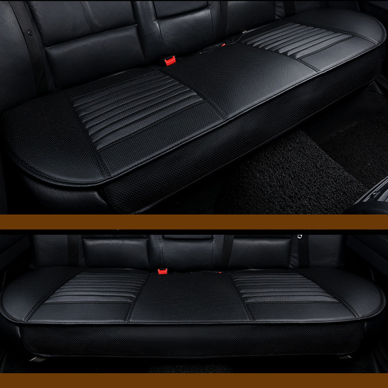 3Pcs//Set PU Leather Car Front Rear Back Seat Beige Cover Protector Cushion Pad