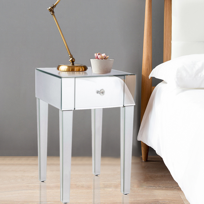 Deluxe mirrored bedside cabinet desk stand side storage for Mirrored drawer unit