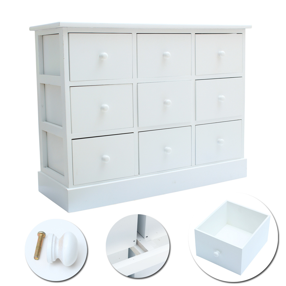 9 Drawer Cupboard Sideboard Chest Of Drawers Shabby Vintage Bedroom Living Room Ebay