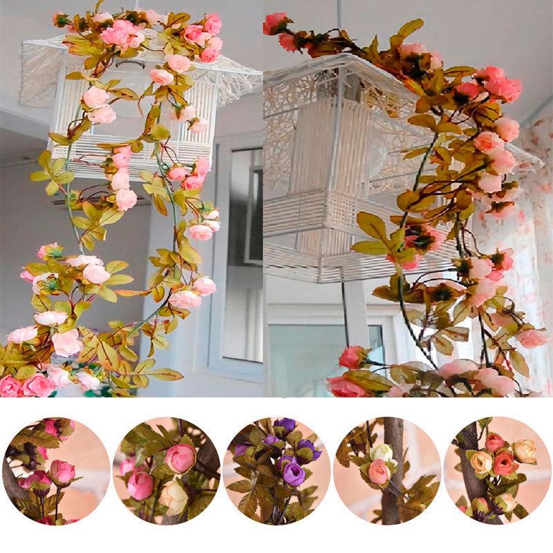 Künstliche Seide Rose Blume Ranke hängende Girlande Hochzeit Party Dekor Neu #LF