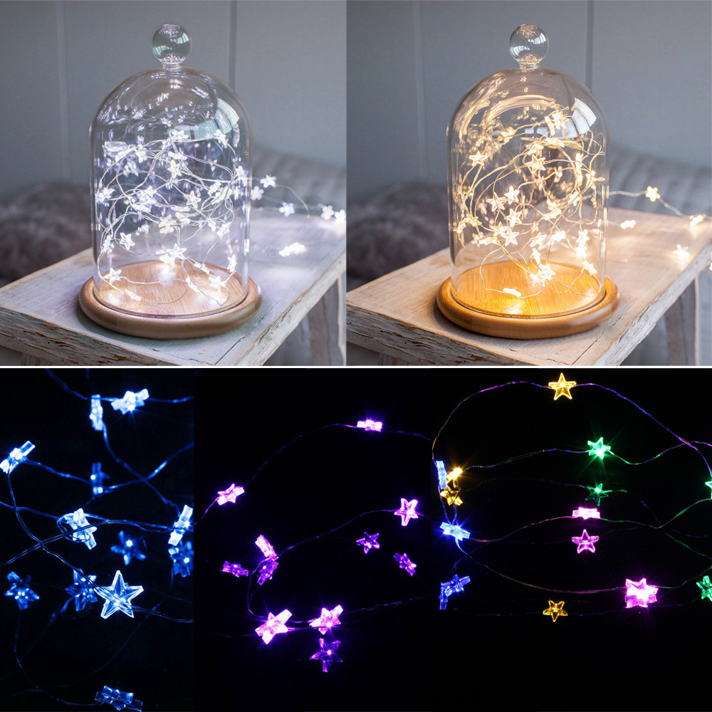 String Lights With Battery: BATTERY OPERATED MINI LED STRINGS COPPER WIRE STAR FAIRY