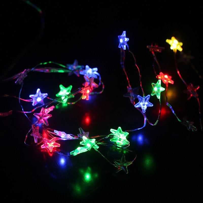 Copper Star String Lights : Battery Operate LED Star Hanging String Copper Fairy Lights for Room Patio Party