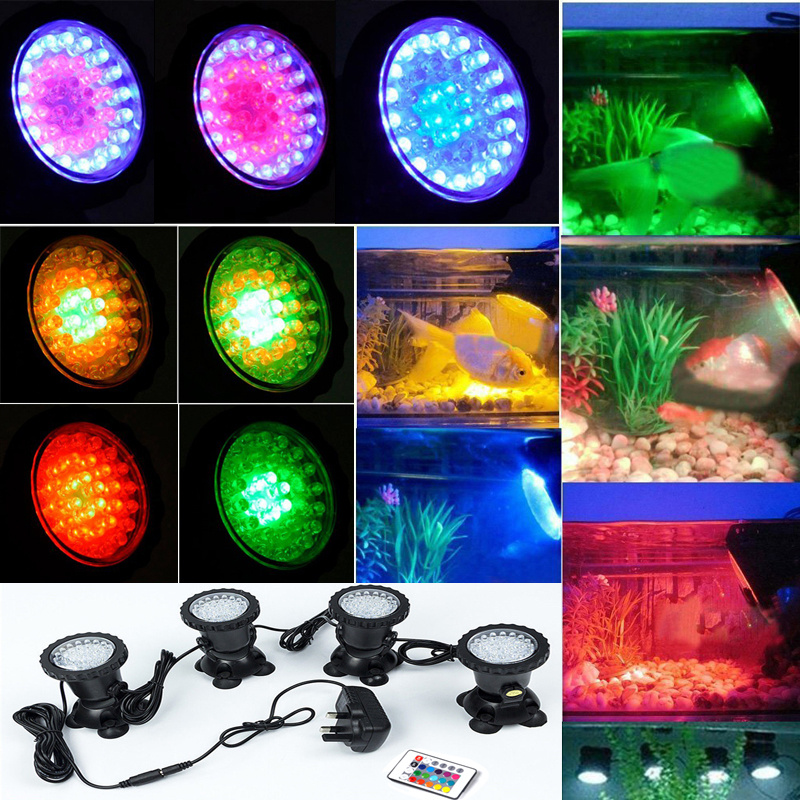 4pcs set aquarium fish tank fountain pond submersible led for Koi pond underwater lighting