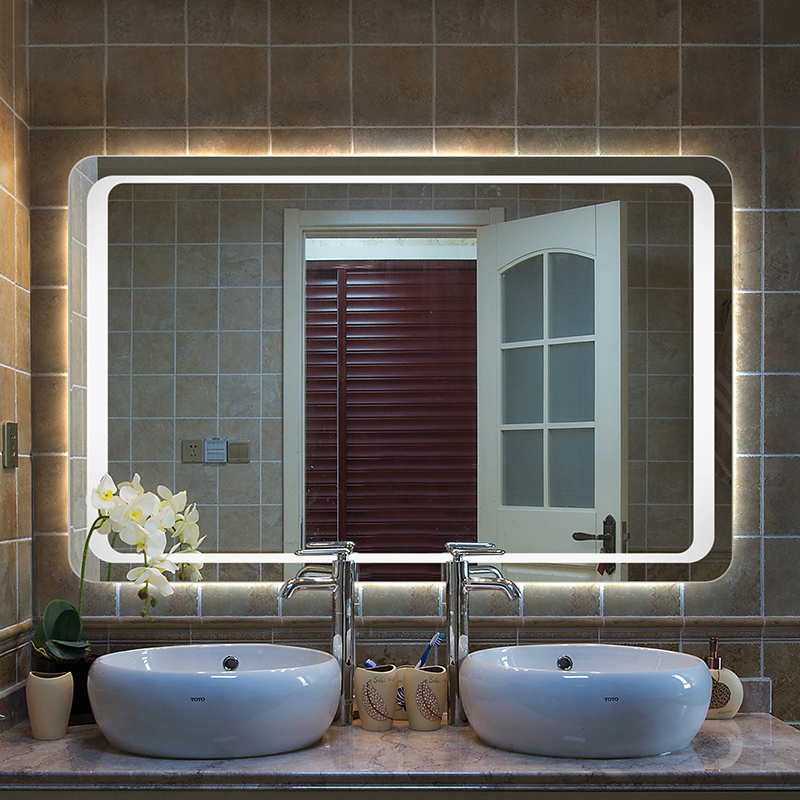 modern large heated white led illuminated bathroom mirror 19095