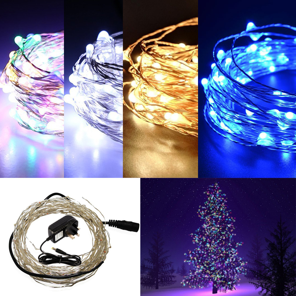 33ft-98ft Rice LEDs Mini Copper Wire Fairy String Lights +12V Mains Plug Outdoor eBay