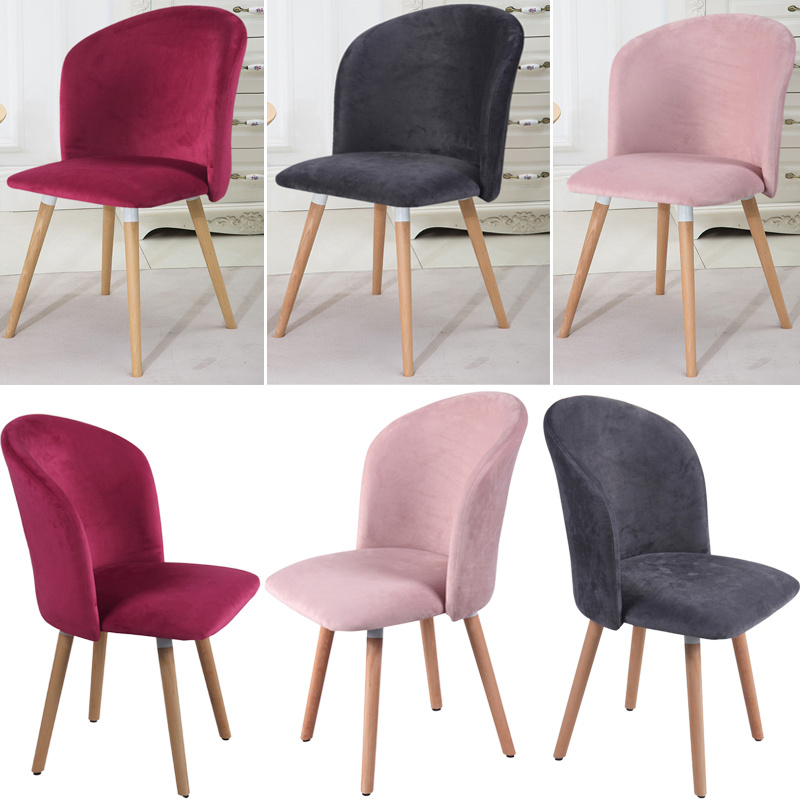 Modern Dining Chairs Accent Chair Velvet Seat Wood Legs