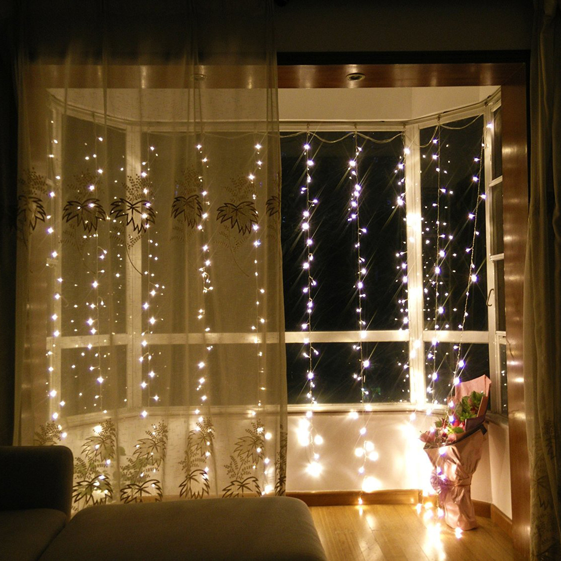 3x3M 300LED Cool White Hanging Waterfall Gate Curtain Window Fairy String Lights eBay