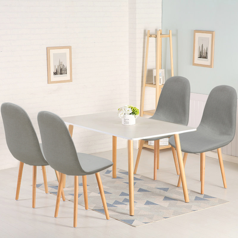Scandinavian Dining Room Chairs: 4 Grey Kitchen Dining Chairs Set Fabric Wooken Oak Chair