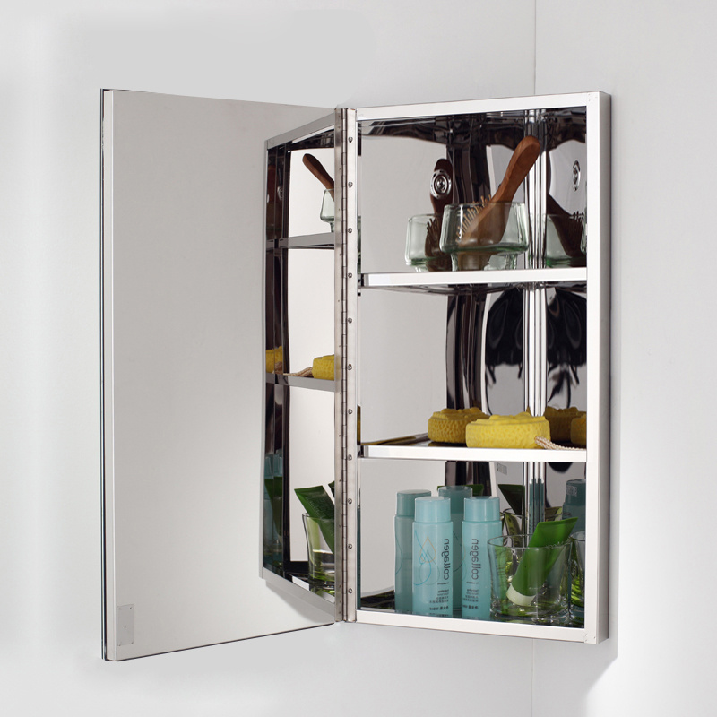 Stainless steel wall corner mirror storage unit cupboard for 200mm kitchen wall unit