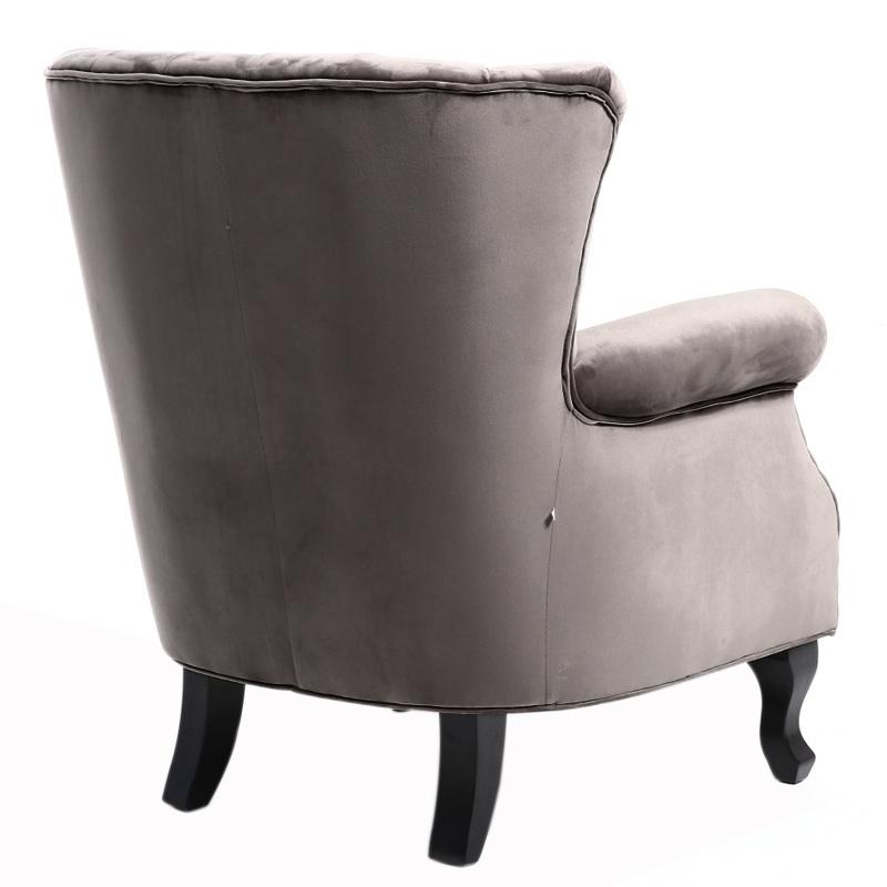 Velvet Grey Wing Back Armchair Studded Fireside Tub Chair