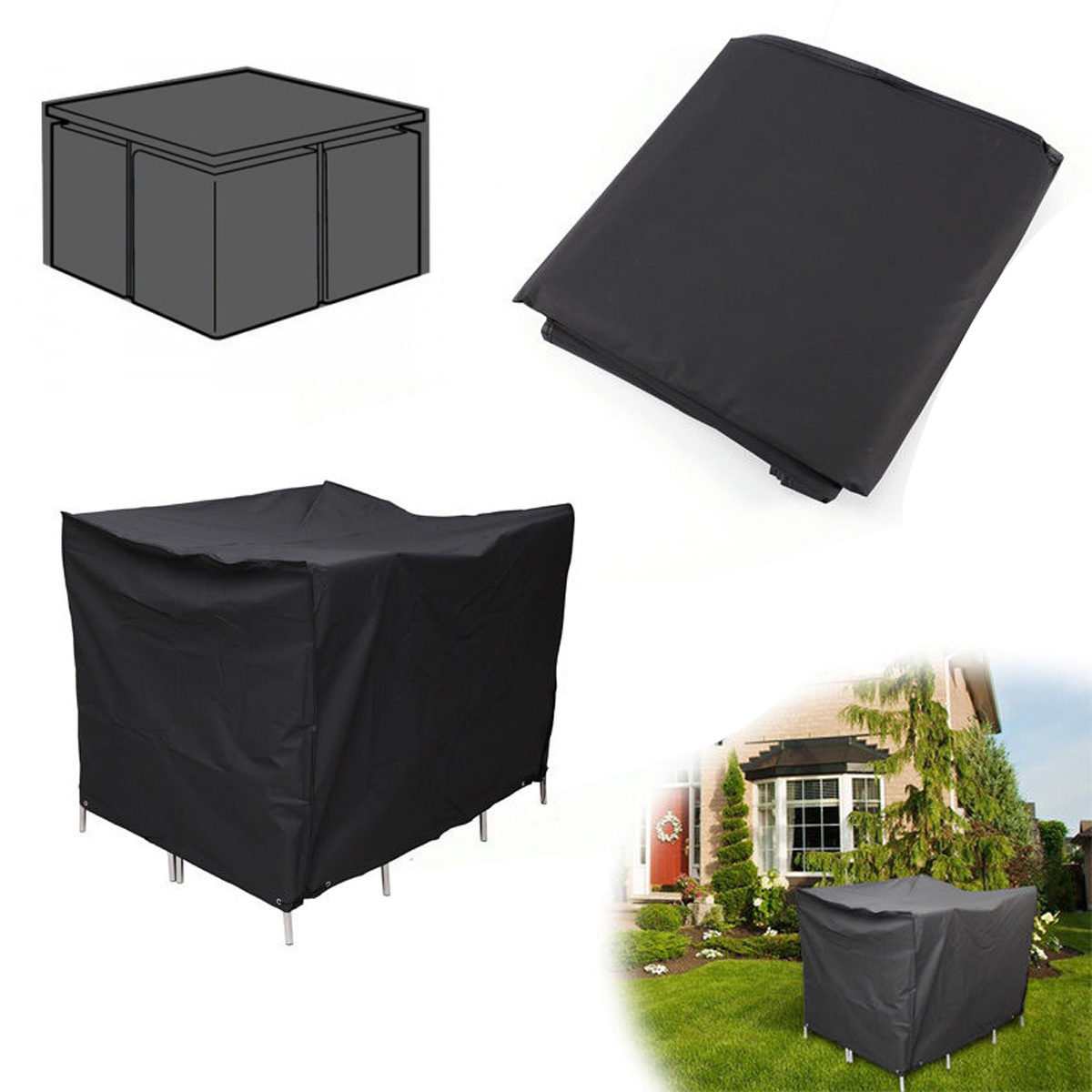 4 Seater Waterproof Garden Patio Table Furniture Cover Ratten Cube Square Bla