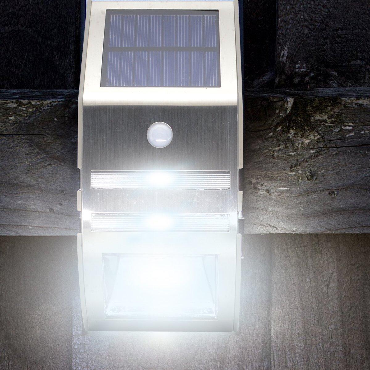 SOLAR POWERED GARDEN SHED GARAGE LIGHT RECHARGEABLE PIR