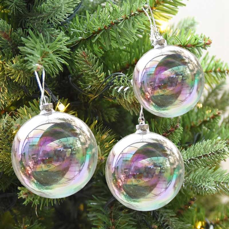 Blue Christmas Ball Ornaments Uk: Clear Iridescent Glass Fillable Baubles Balls X'mas