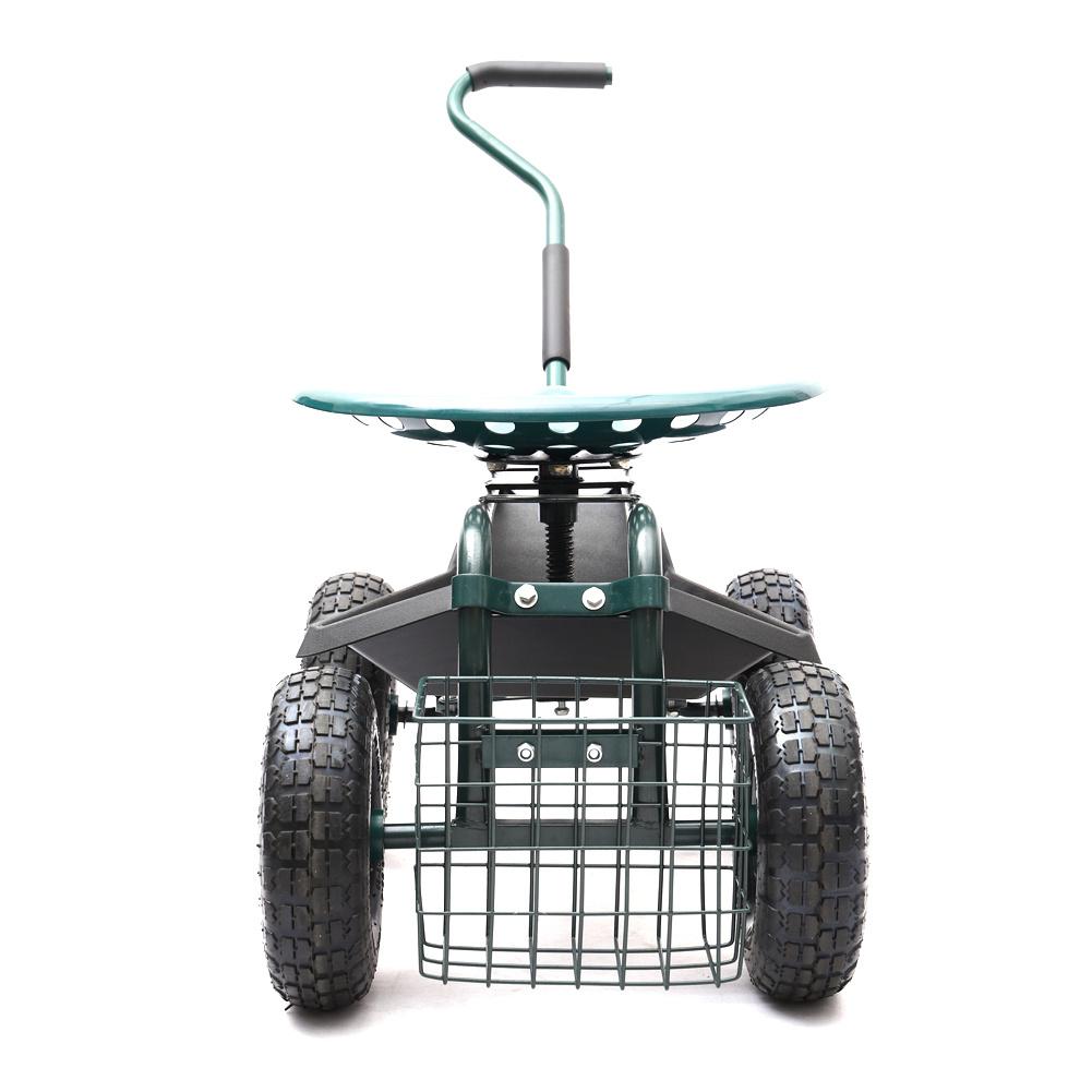 Rollbarer Gartenwagen Garten Sitzwagen Transport Handwagen Gartenhocker mit Korb