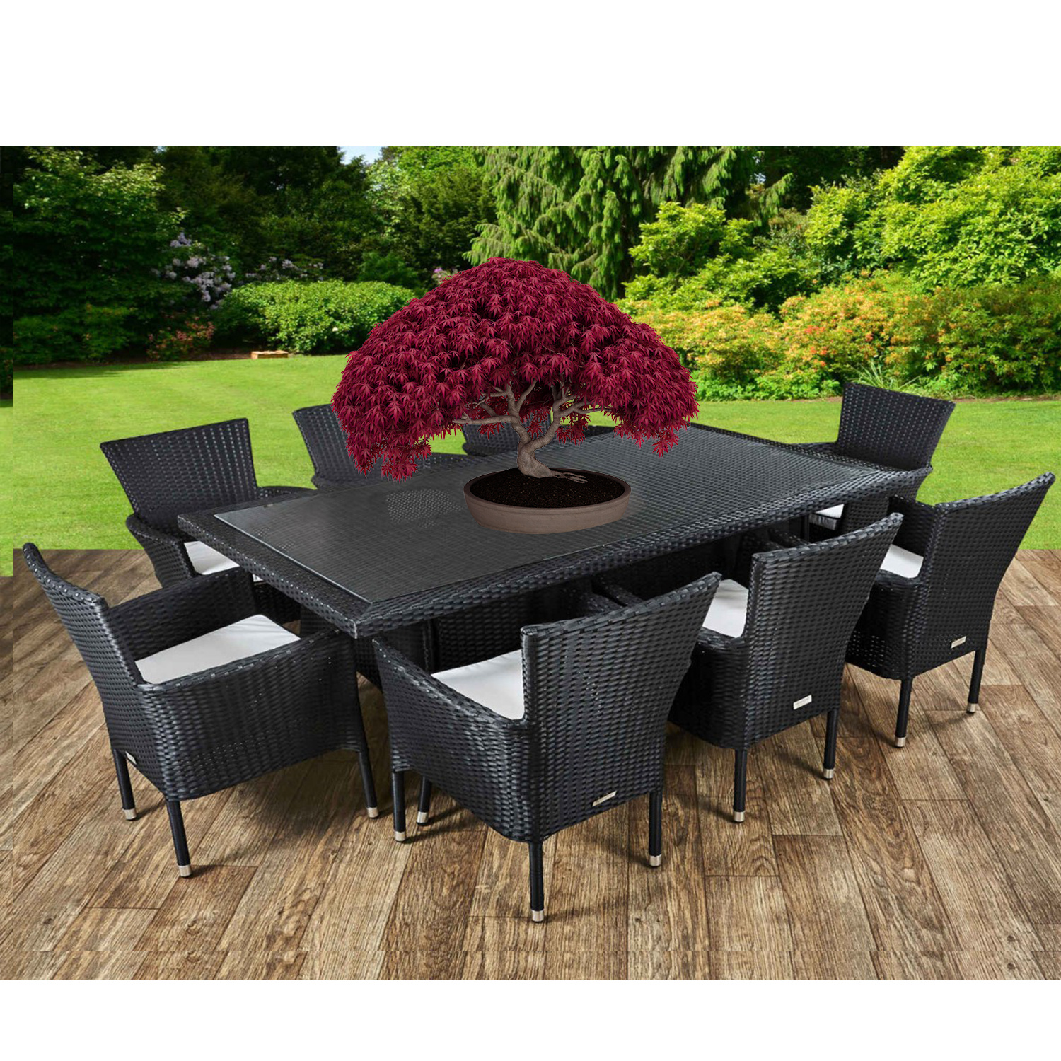 6 8 seater Oval Rectangular Furniture Patio Garden Table Chairs Set Cov