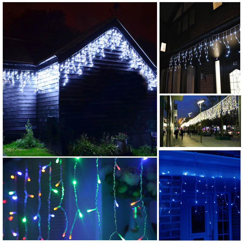 224 Led 8 Multi Function Outdoor Christmas Icicle Snowfall