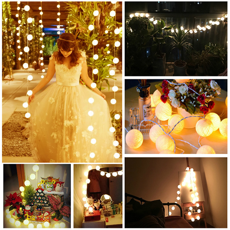 20 Thai Style White Cotton Globe Ball Fairy String Lights Wedding Marquee Gazebo