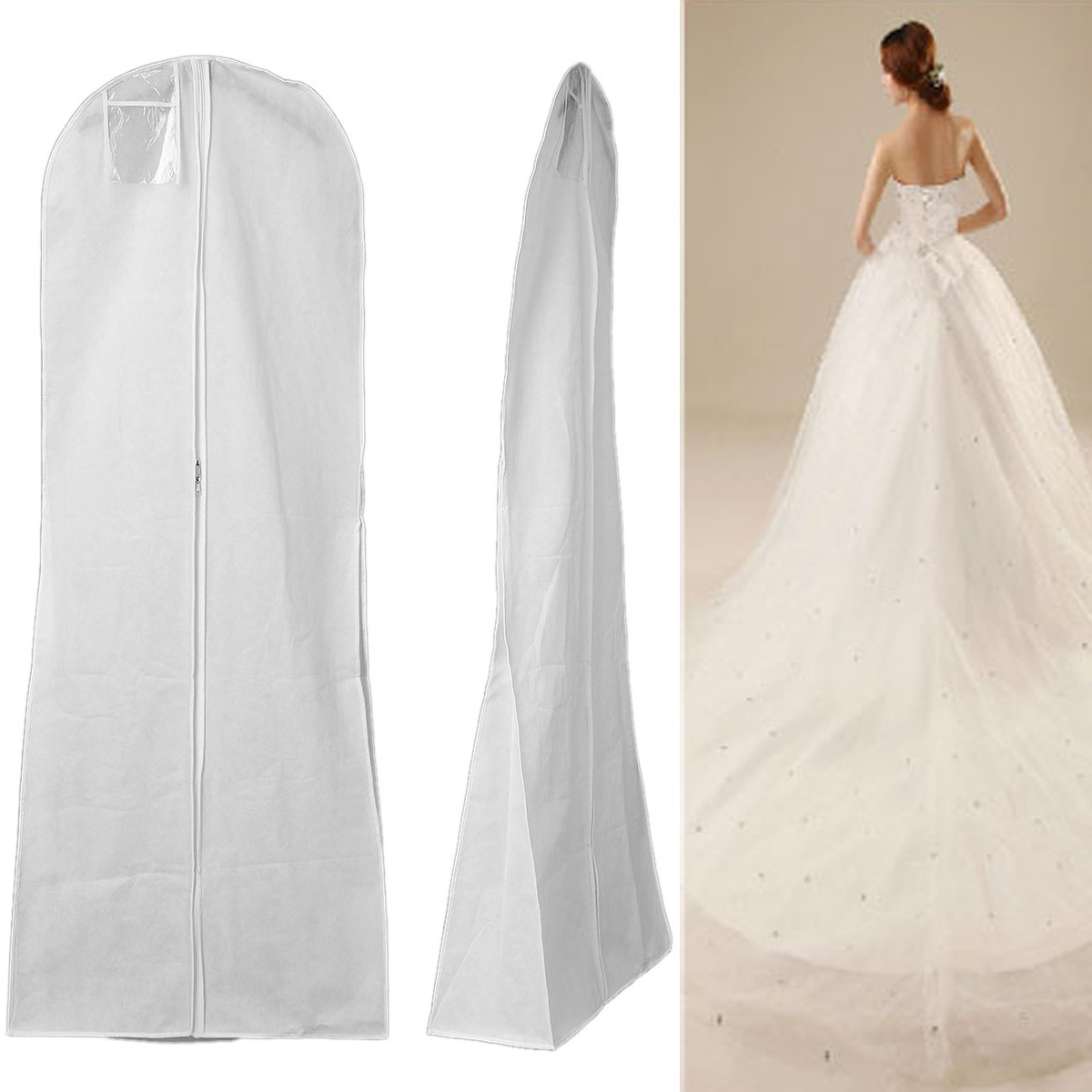 f1e8f0f91189 Details about Extra Wide Breathable Dress Garment Cloths Bag Long Bridal  Wedding Dresses Cover