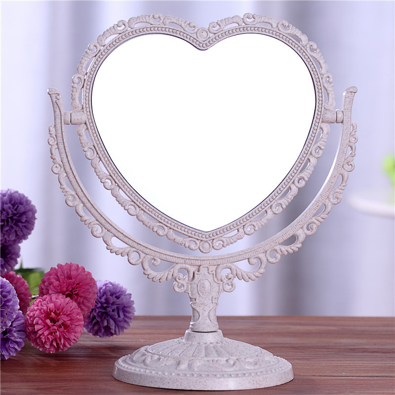 Silver black cream vintage stand free standing vanity for Silver stand up mirror