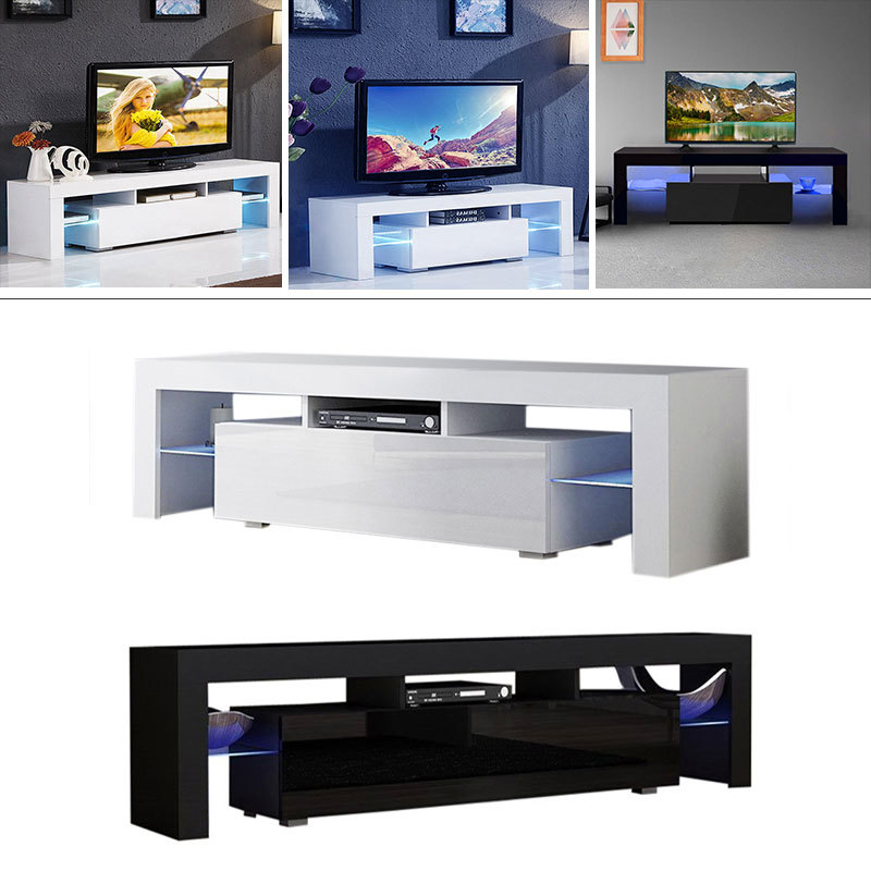 low priced fb306 637b1 Details about Modern High Gloss TV Stand Cabinet Black/White Storage Unit  1.3M Long LED Ark UK