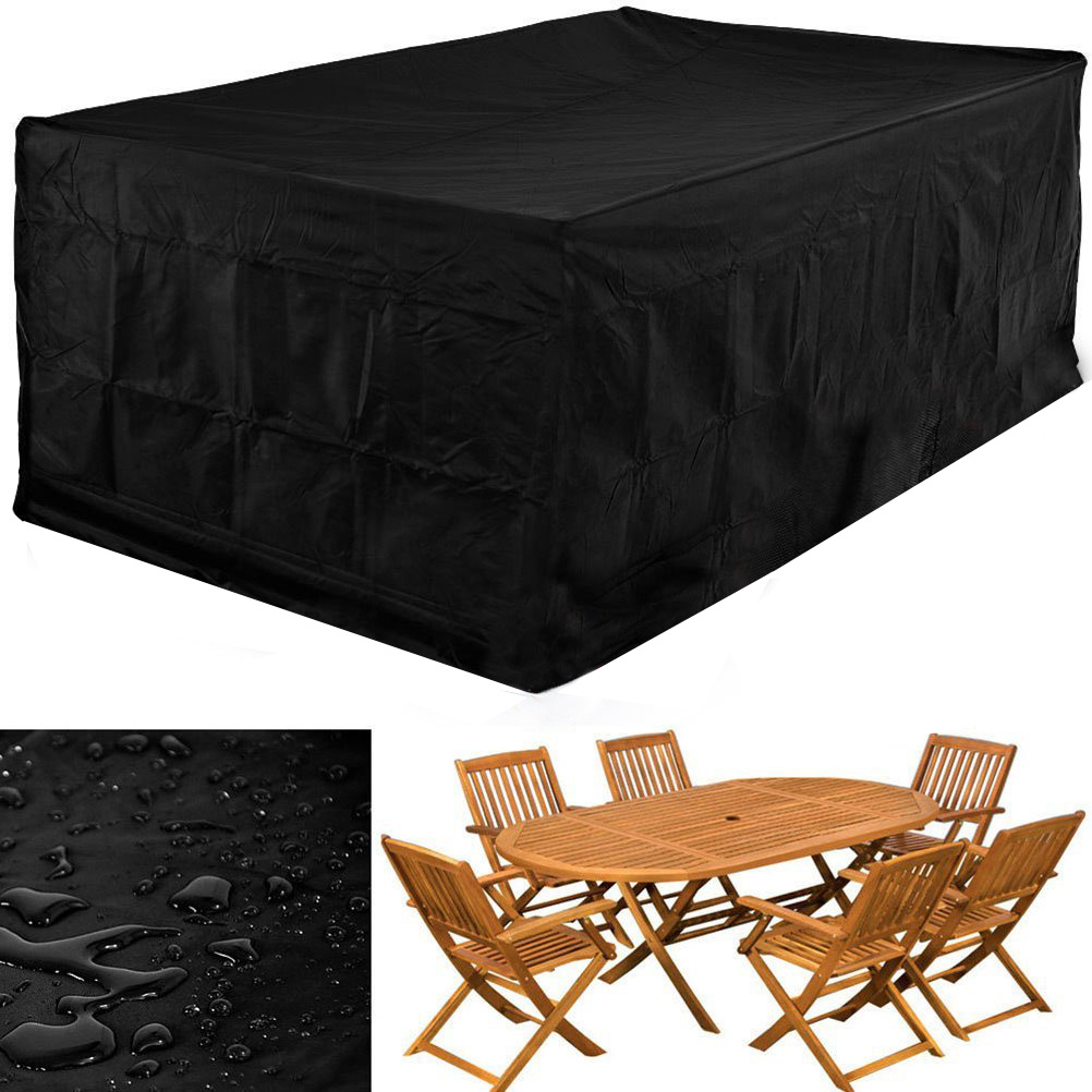 Waterproof rectangular garden patio furniture covers 6 for Outdoor furniture covers in black