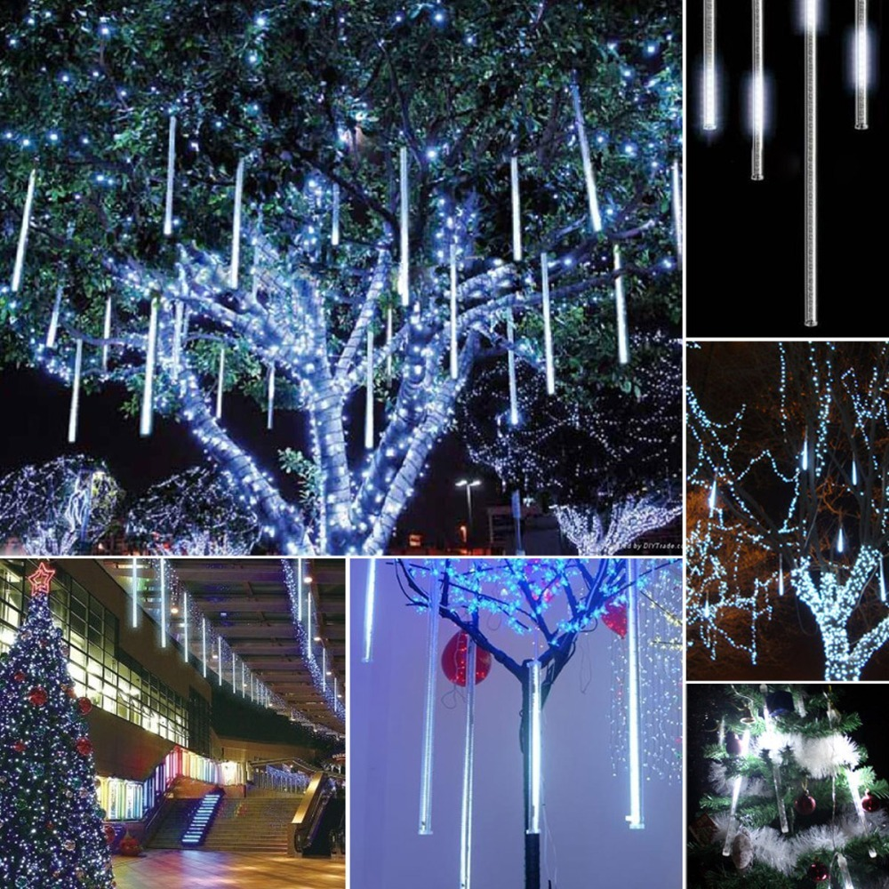 Dripping Christmas Lights.Details About 8 50cm White Led Meteor Shower Lights Street Garden Christmas Tree Dripping Tube