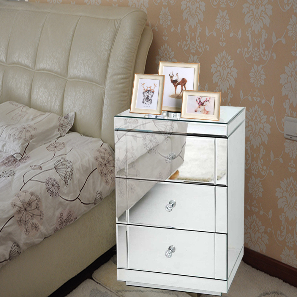Mirrored Glass 3 Drawer Chest Of Drawers Bedside Table Bedroom Cabinet Uk Stock