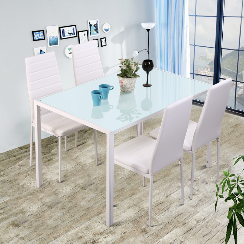Details About High Gloss White 5 Pieces Dining Set Kitchen Dinette Table And Chairs Wood Gl