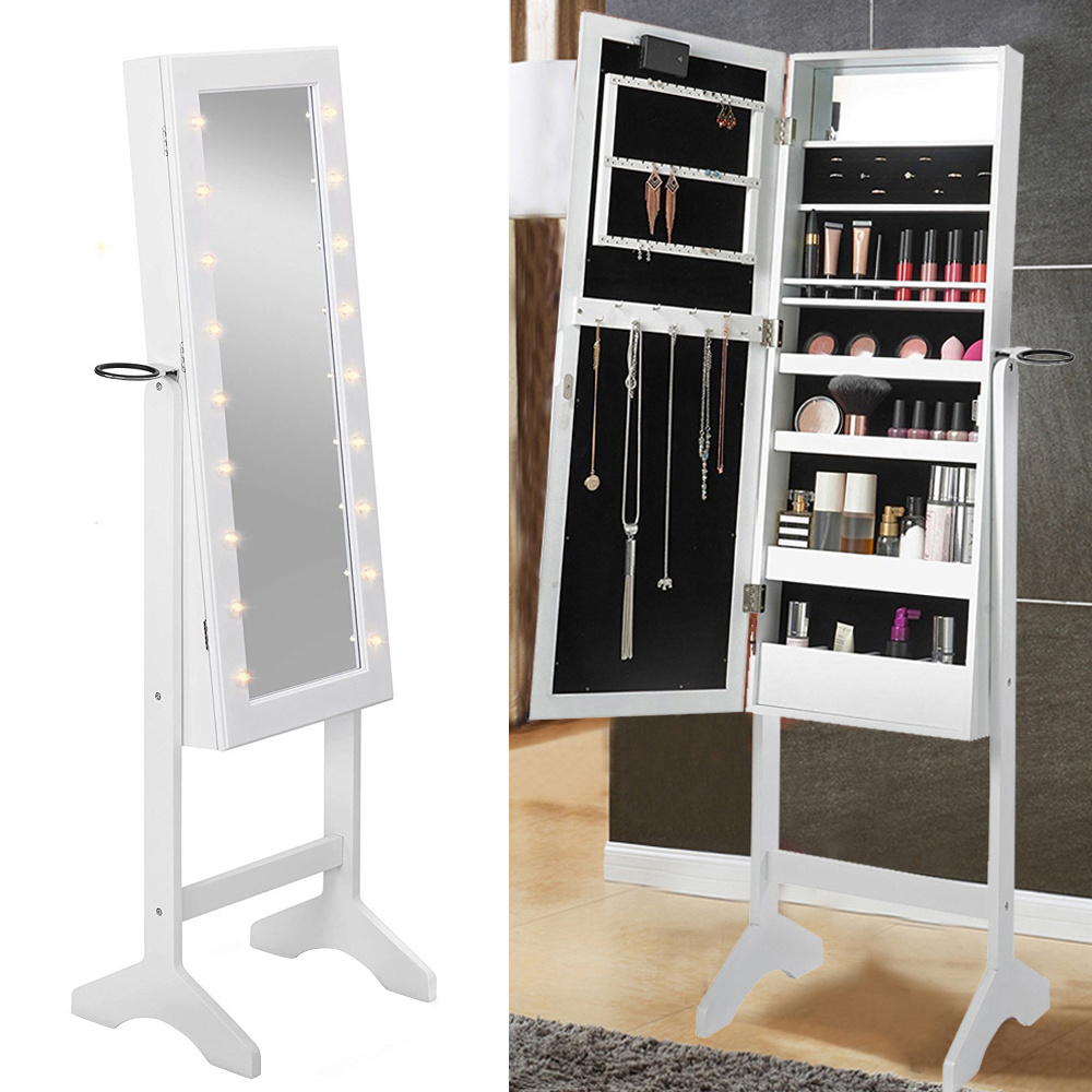 White Painted Led Illuminated Mirror Jewellery Jewelry Organizer Cabinet Armoire Dressing Makeup Shelves Storage Cupboard Floor Standing With Lock