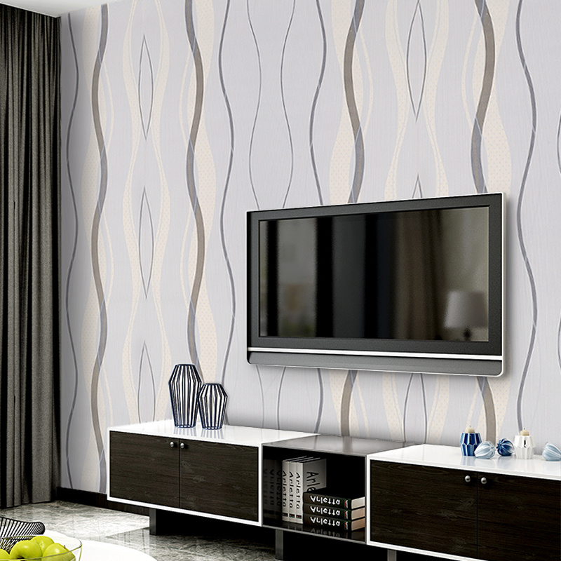 UK Strips Wallpaper Grey Black Stripe Wave Lined Textured ...