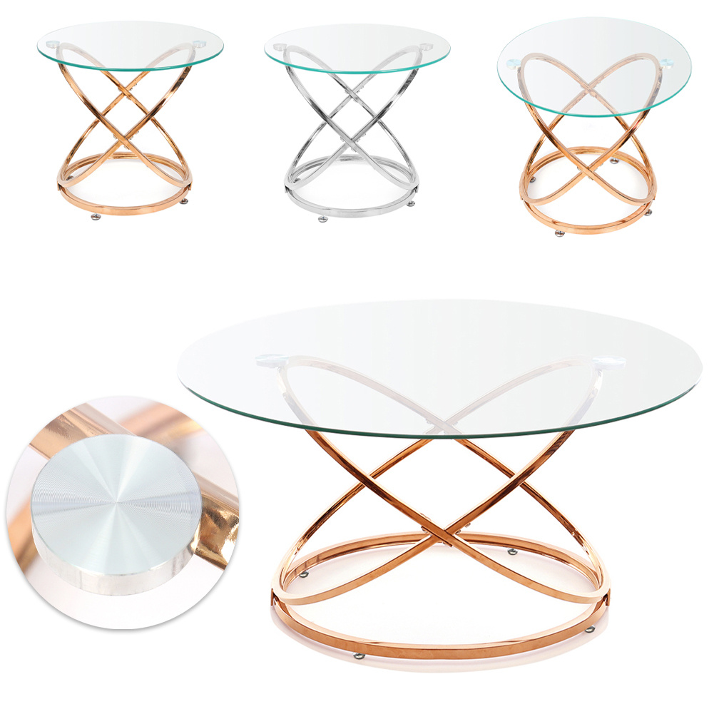 Round Clear Glass Coffee Table Living Room Centre/Side Unit Geometric Art Base