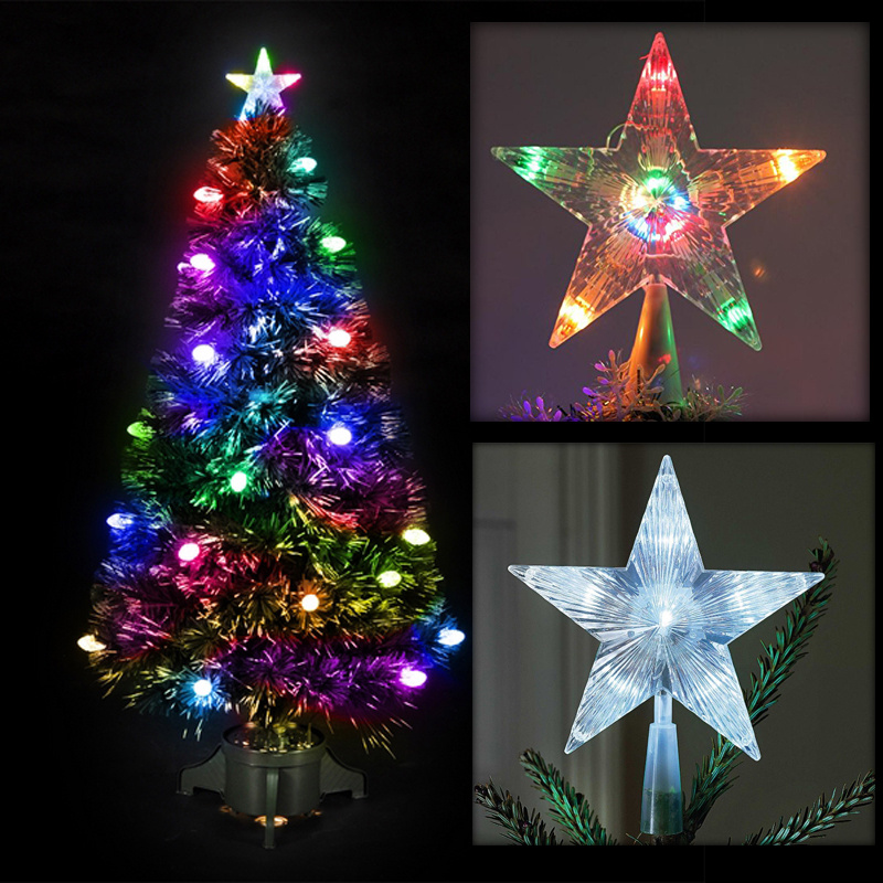 Battery Operated Outdoor Christmas Trees: LED Twinkling Lights Indoor Outdoor Christmas Tree Topper