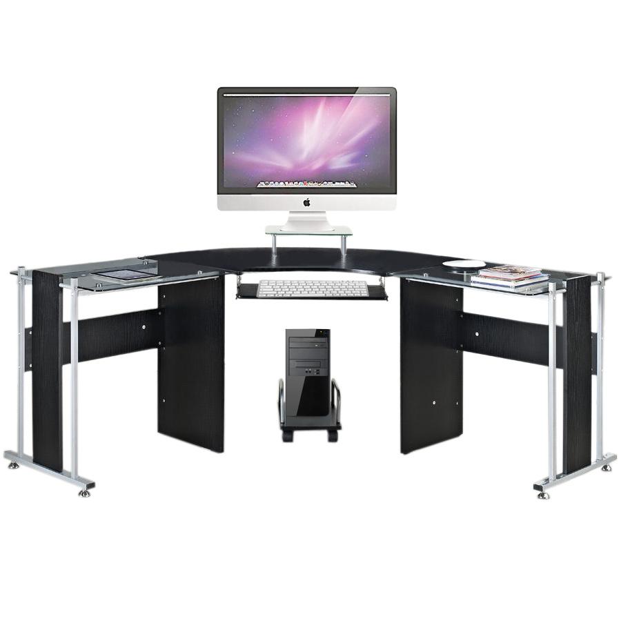 Pleasant Details About Black High Gloss Glass Computer Pc Corner Table Desk Office Workstation Study Uk Download Free Architecture Designs Momecebritishbridgeorg