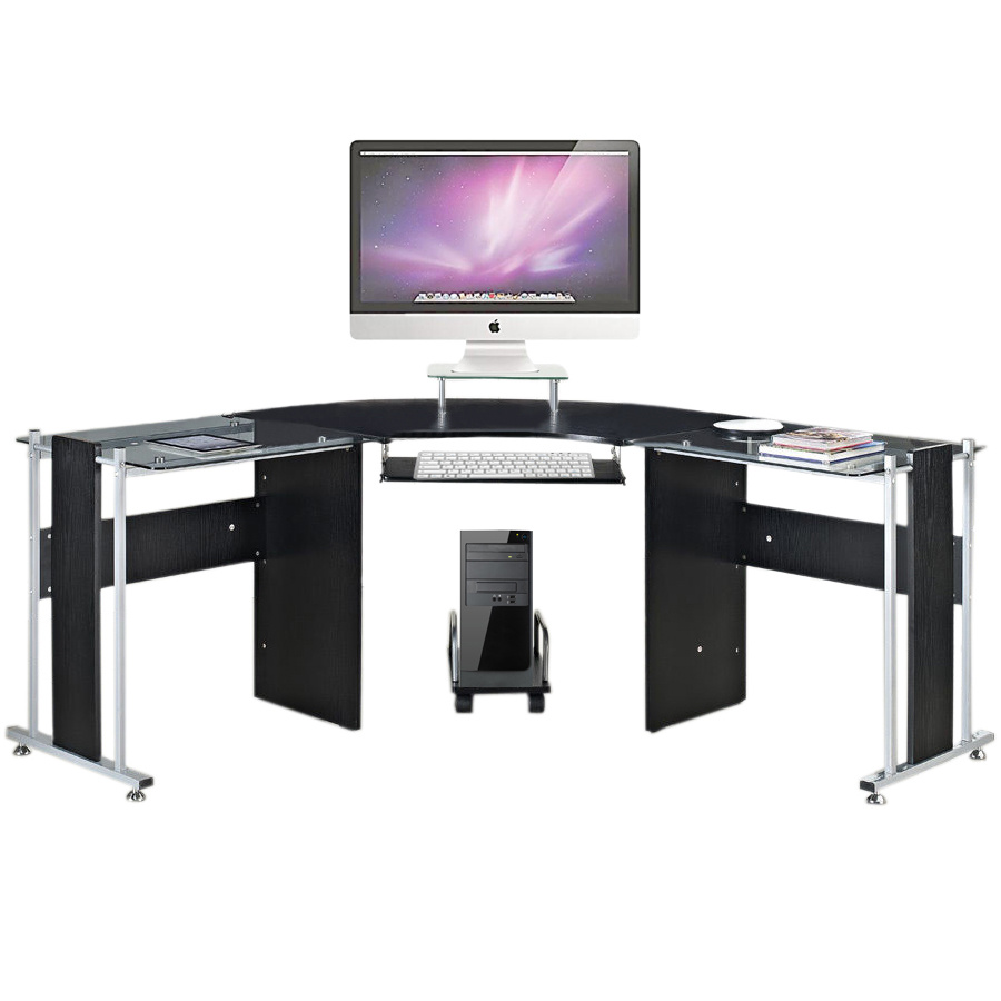 Office Round Corner Desk L-Shaped Glass Top Table PC Gaming Computer Workstation | eBay