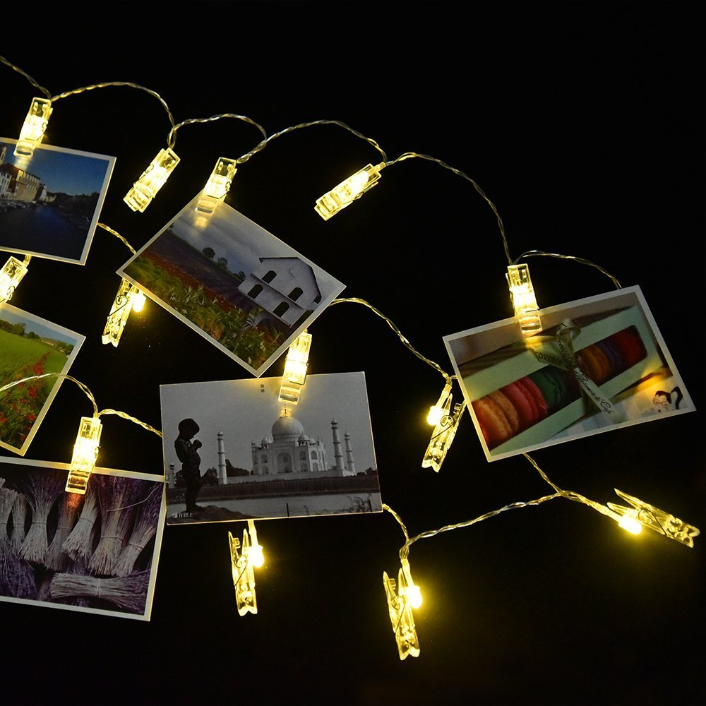20 40led peg clip hanging photo picture fairy string light for Hanging lights for kids room