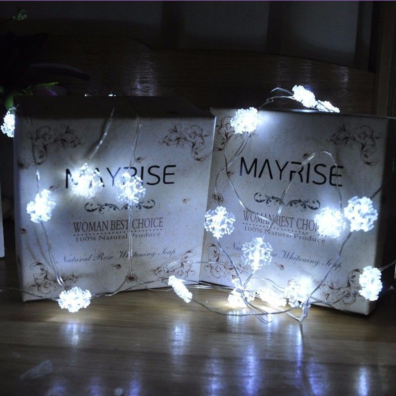20 Leds Snowflake Fairy String Light Battery Operated Garland Bottle Vase Flower