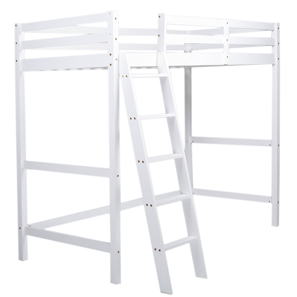 3ft High Sleeper Beds Frame White Wooden Loft Cabins for Kids Adult 198x95x172cm