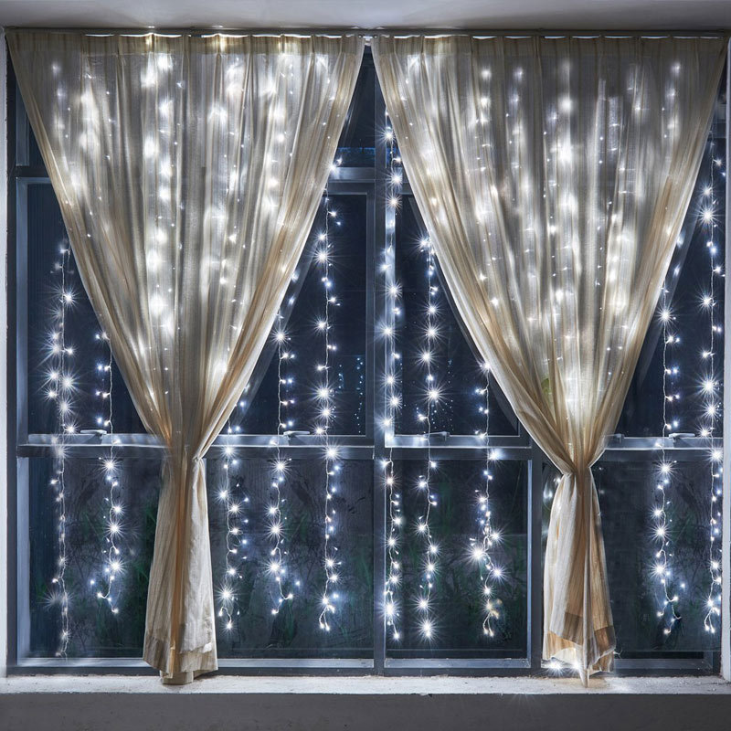 led waterfall effect fairy string curtain light snowing wedding xmas party white ebay. Black Bedroom Furniture Sets. Home Design Ideas