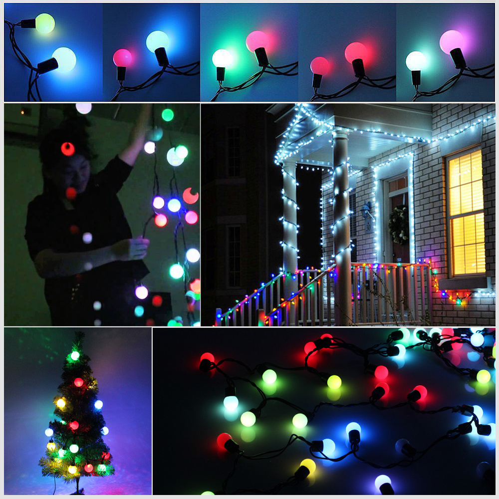 Outdoor String Lights That Change Colors : 5M/50LED Globe Ball Automatic Color Changing Fairy String UK Main Outdoor Lights eBay