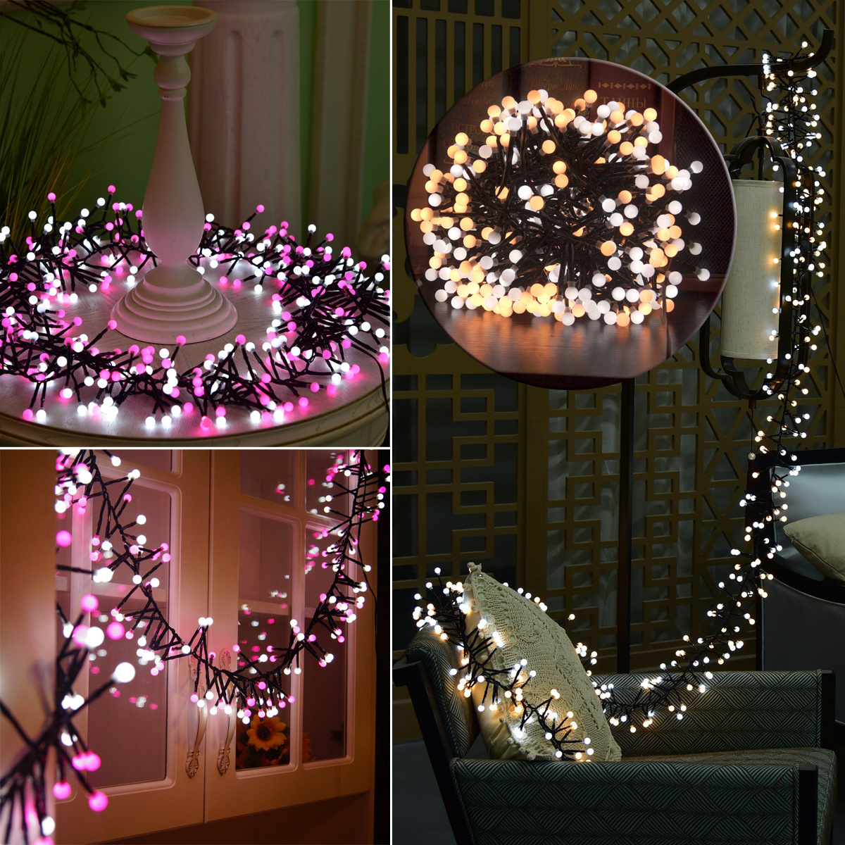 400 Led Cluster Fairy Lights Christmas Curtain Window Chaser With Valentine Product Picture Show