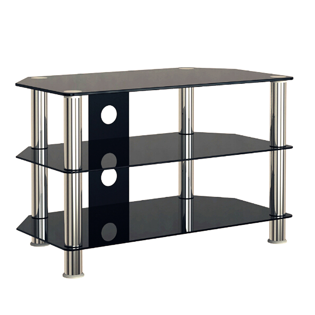 desktop black glass tv stand cabinet gloss 3 shelf for 30 55 inch lcd led screen ebay. Black Bedroom Furniture Sets. Home Design Ideas