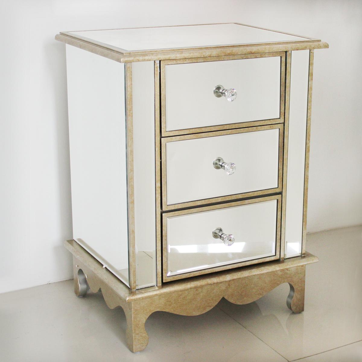 Mirrored Bedside Table Vintage Antique Cabinet 3 Drawer